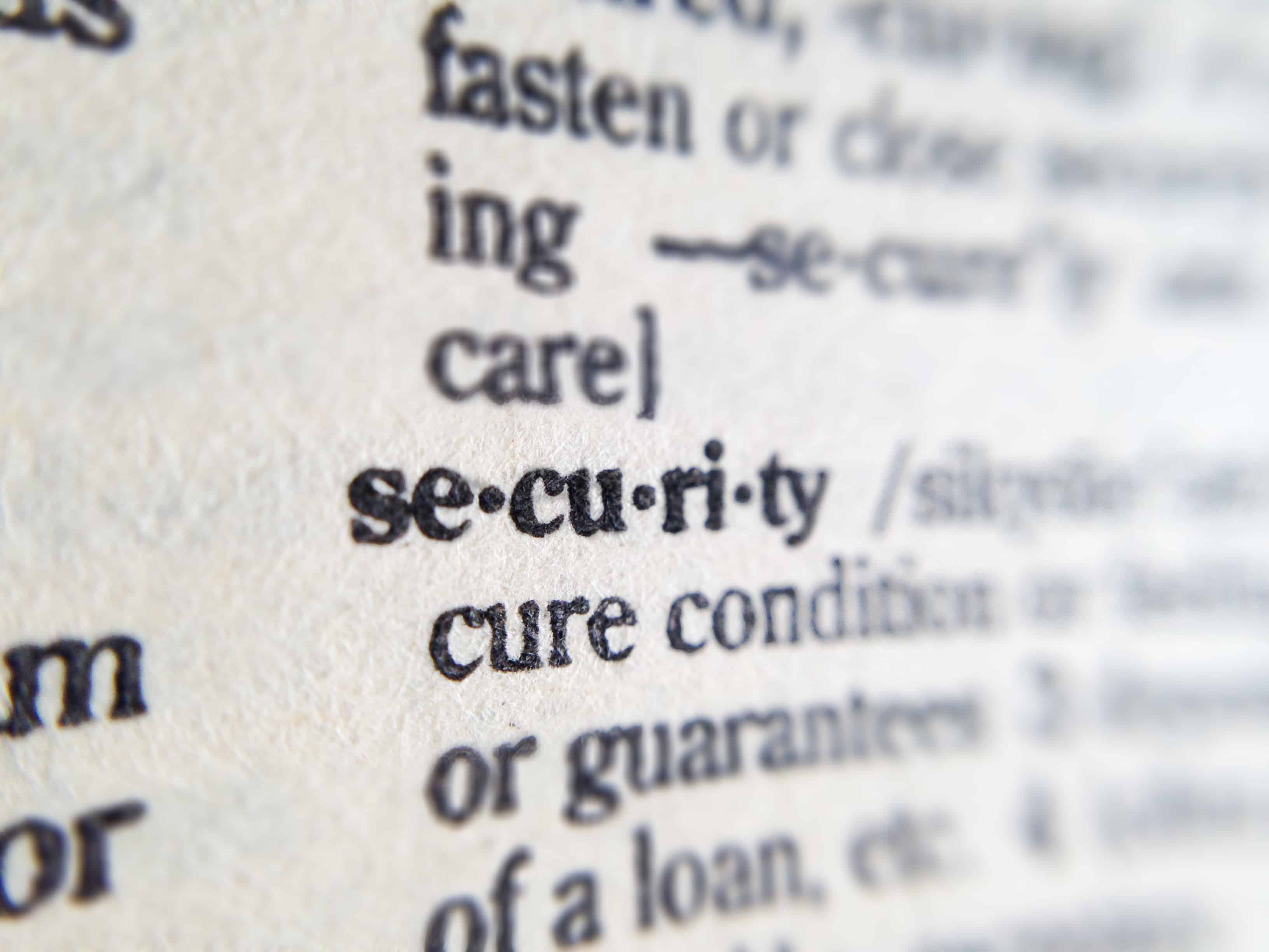 a picture of the definition of the word security