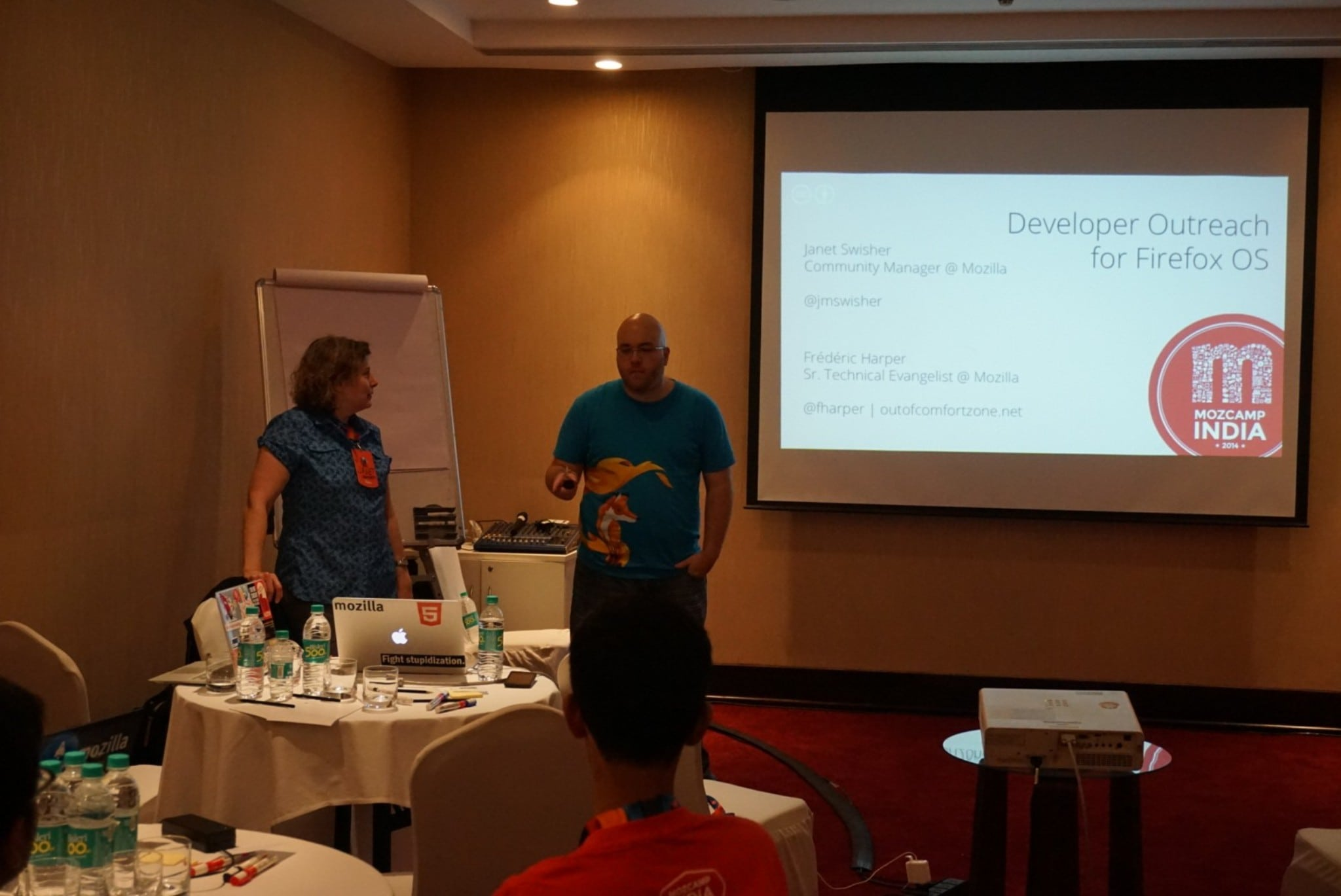 Myself & Janet giving a workshop at MozCamp India