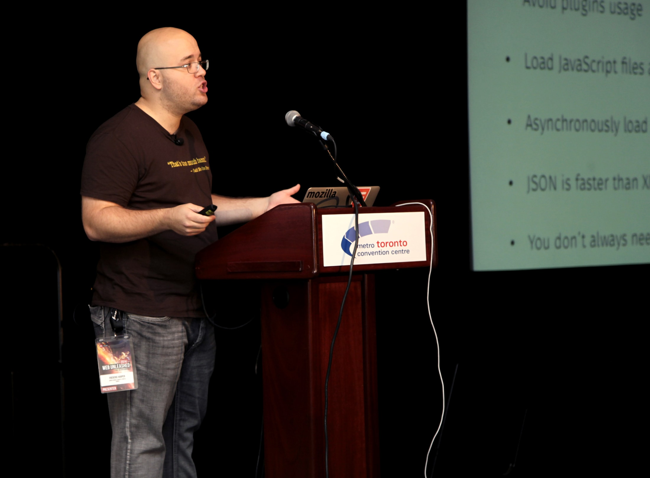 A picture of me giving a talk at FITC