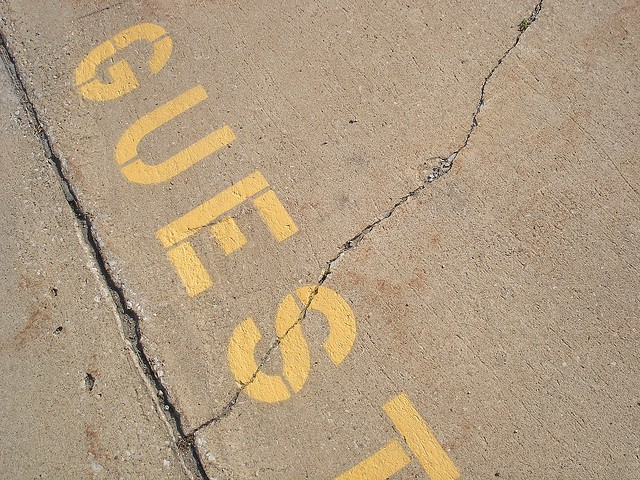 Guest written in yellow on the street