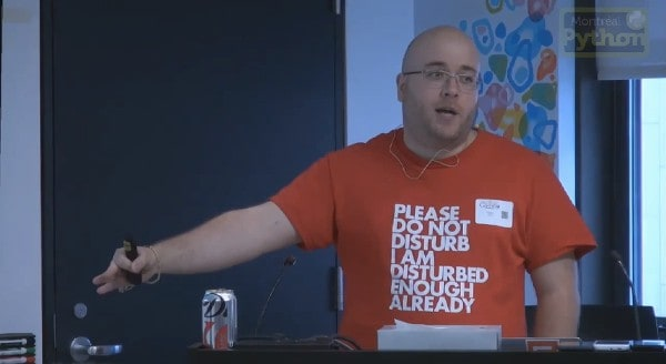 A picture of me presenting at Python Montréal
