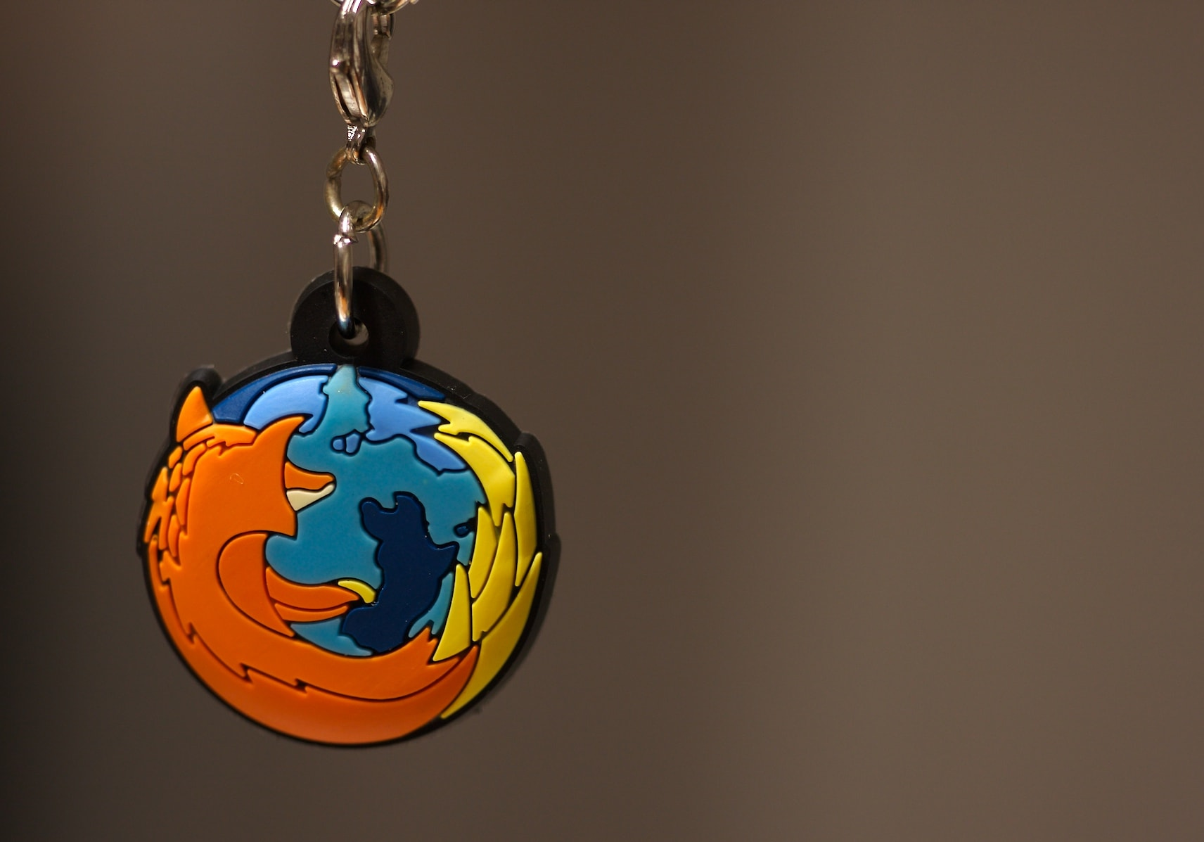 A keychain with the Firefox logo
