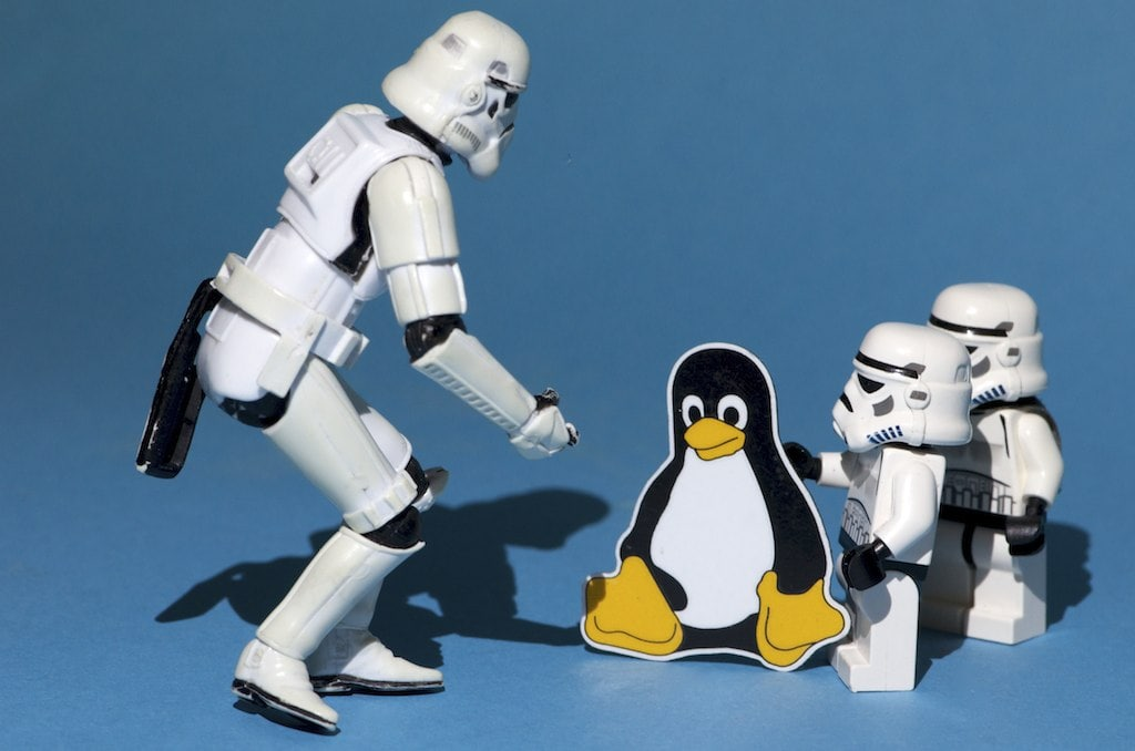 Stormtroopers with the Linux mascot, Tux