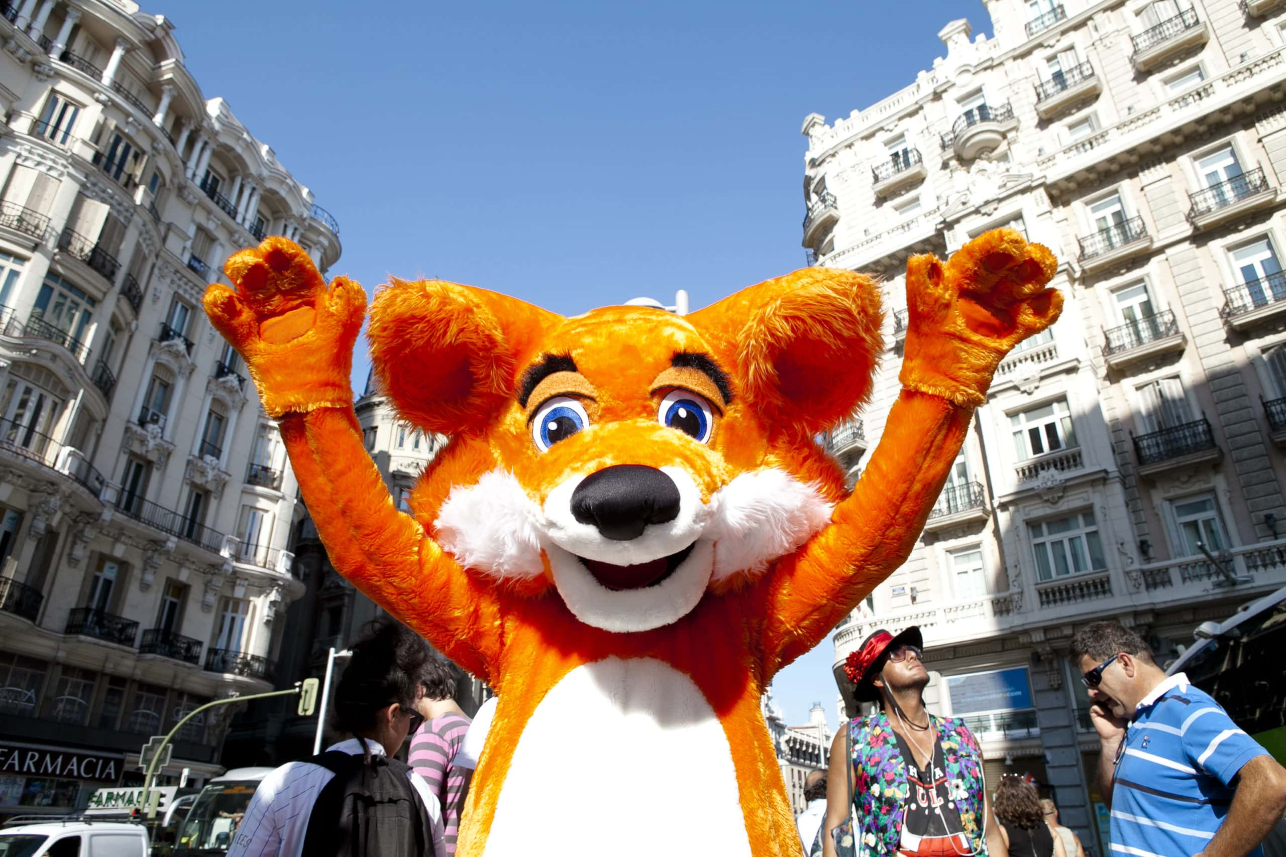 Someone in a Firefox costume